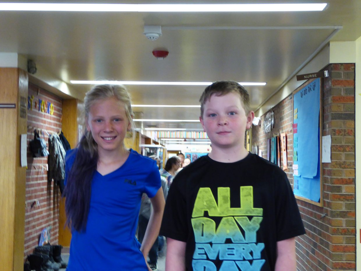 Sunset Elementary School fifth-graders Linky McCormick and Hunter Kenney are among the nine local students who visited the Colorado State Capitol building in Denver on March 16 in honor of James Madison's birthday.