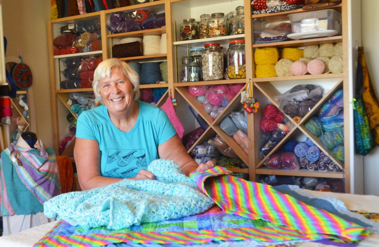 Gayle Dudley is able to make a quilt in about one day from her well-stocked craft room inside her Steamboat Springs home.