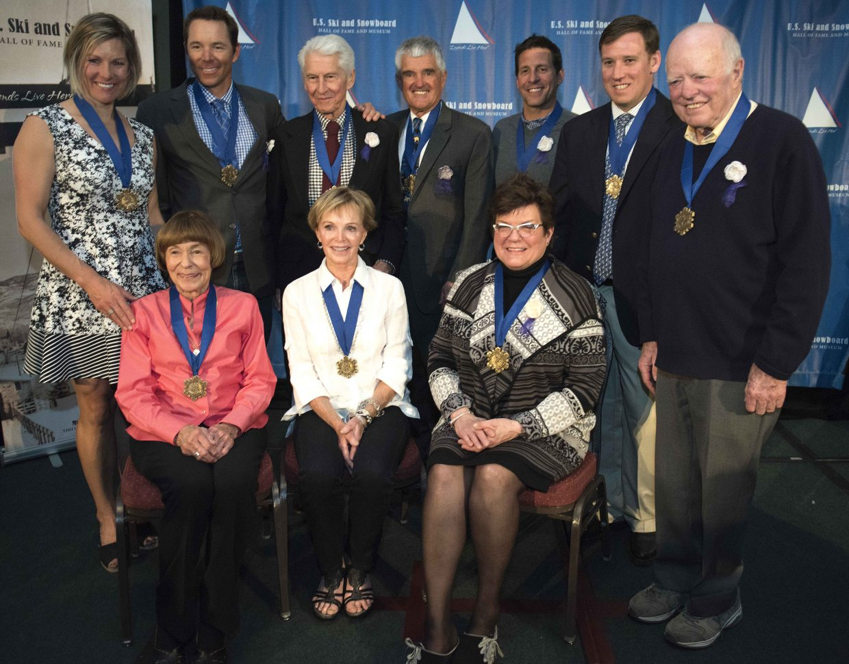 A class of 10 skiers and snowboarders were inducted into the U.S. Ski Hall of Fame on Saturday night in Steamboat Springs. Top, from left: Slalom skiing standout Kristina Koznick, big mountain legend Chris Davenport, skiing Renaissance man Ralph Miller, U.S. coach and development guru John McMurtry, elite alpine racer Erik Schlopy, Olympic gold medalist snowboarder Ross Powers and ski area design master Joe Cushing. Front row, from left: Betsy Chase, wife of ski instructing pioneer Curt Chase, Jean Smith, wife of goggle inventor Bob Smith, and women's ski equipment pioneer Jeannie Thoren.