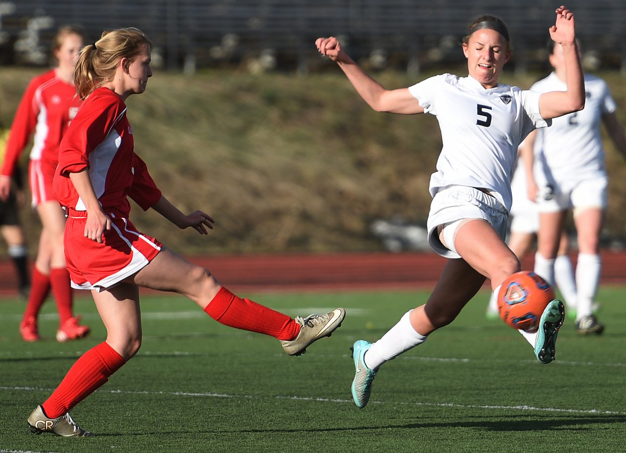 Steamboat's Brooke Buchanan catches the ball on her foot Tuesday against Glenwood Springs.