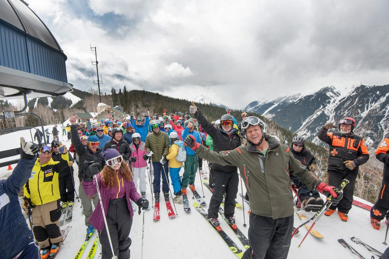 A large crowd gathers in celebration of Olympic champion Bill Johnson on the Aspen World Cup downhill course, where he won on March 4, 1984.