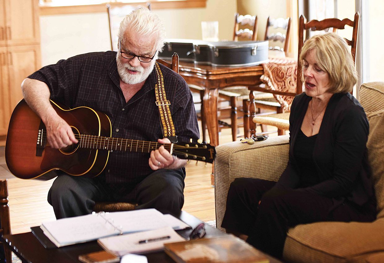 Jeanne Upbin sings with Dan Comstock during a workshop at the Respite House in Steamboat Springs, where the local Parkinson's s group was meeting. The Emerald City Opera helped bring Comstock, a voice coach and therapist, to Steamboat Springs this week to host sessions with Horizons Specialized Services in both Steamboat Springs and Craig. Comstock led a workshop for caregivers and worked with the Parkinson's group, using singing techniques help people dealing with Parkinson's find new ways to vocalize more easily.