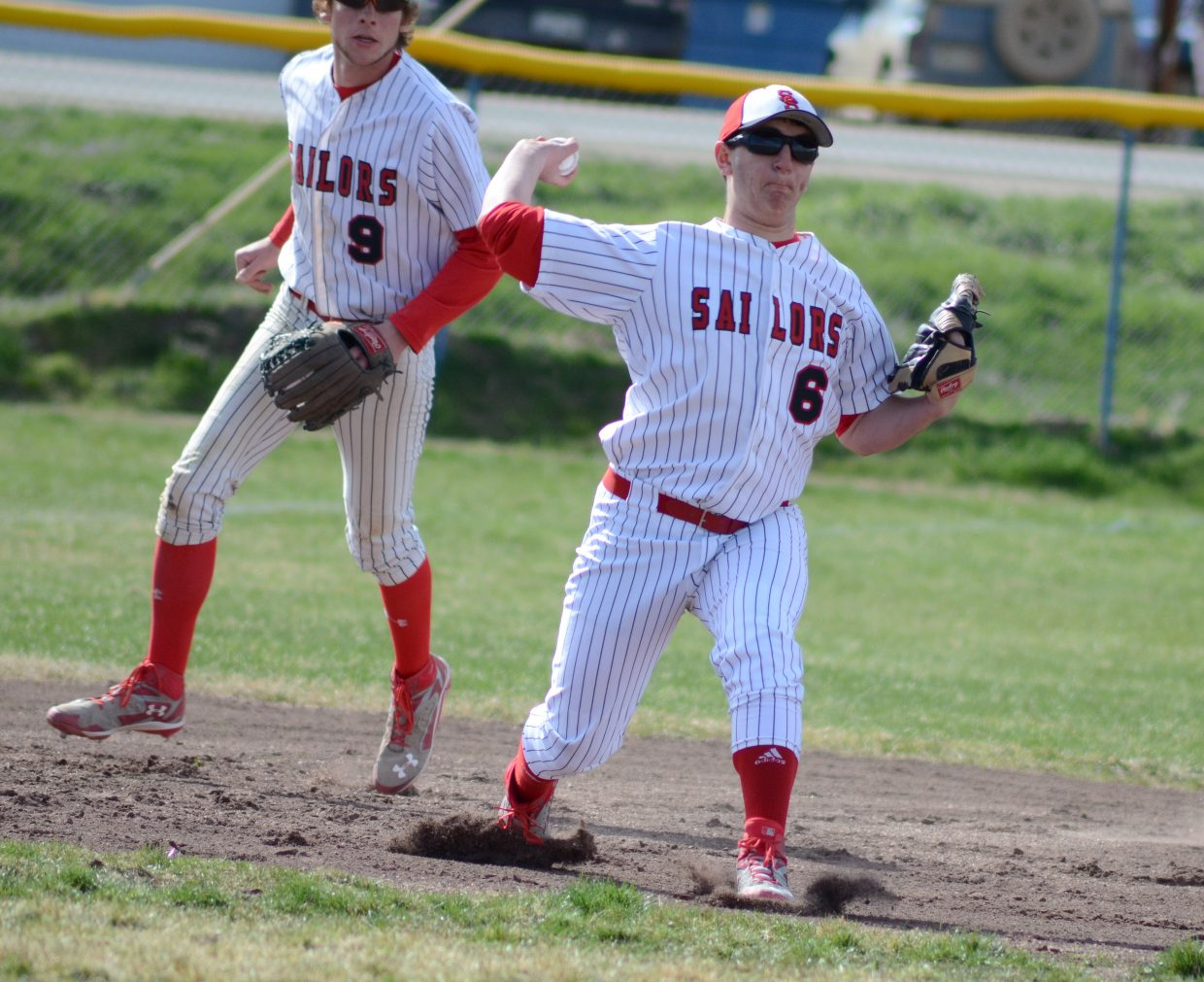 Steamboat third baseman Michael McRight throws to first base for an out Tuesday in Craig. The Sailors played solid defense to keep Moffat County off the scoreboard for most of their doubleheader Tuesday. Steamboat won both games, 19-0 and 16-1.