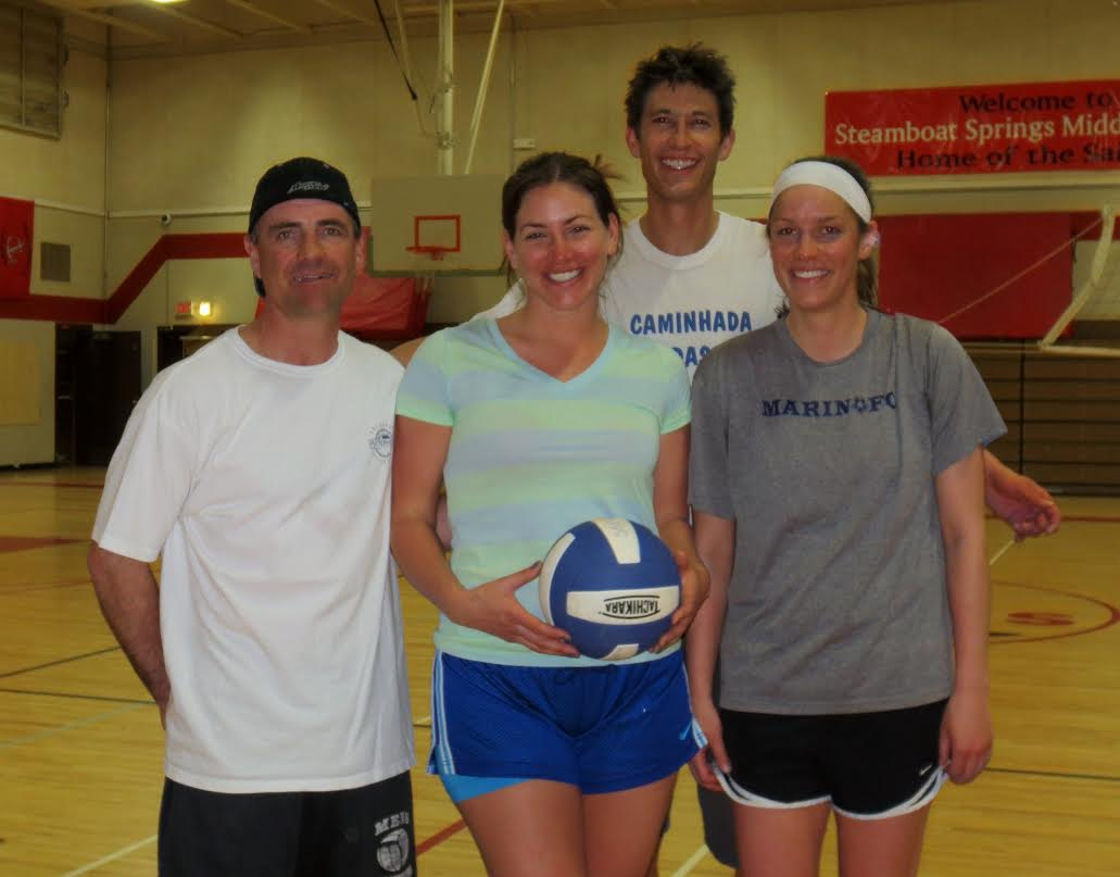 Team Swingers, composed of Kurt Garbin, from left, Emily Taylor, Mark Dudley and Janet Bunning, won the 2014 adult recreational league volleyball championship after defeating Lock n' Load, 2-0, on Monday night.