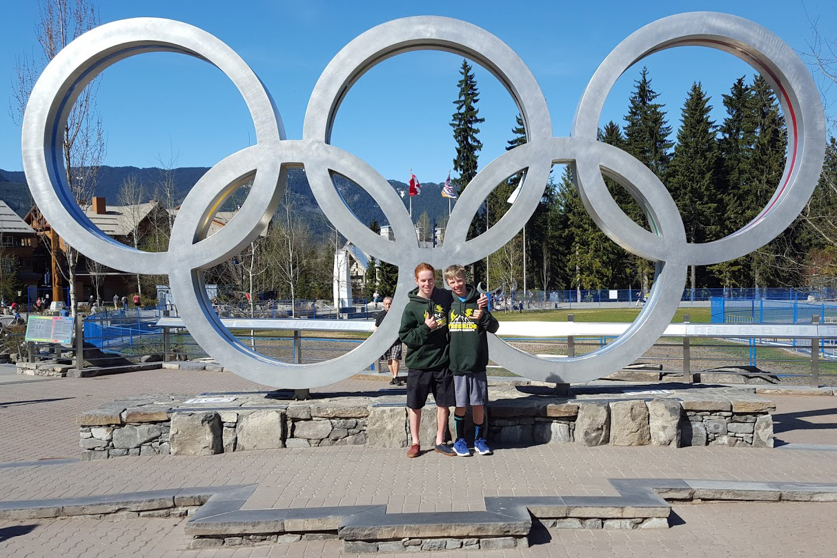 Steamboat Springs Winter Sports Club athletes Parker Temple, left, and Bryce Zetzman stop for a photo at Whistler Olympic Park in British Columbia. Both kids recently competed in the 2016 National Finals for the International Freeskiers Association.