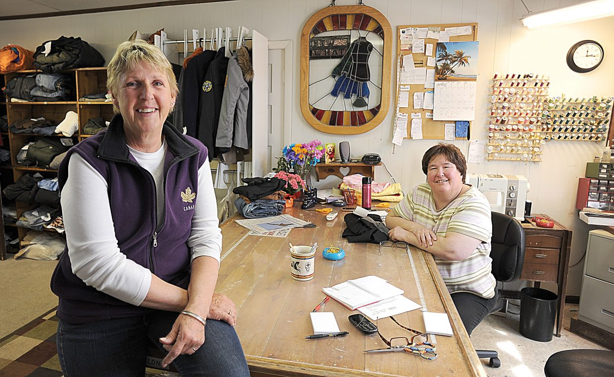 Sew What owner Maggie Bentz, front, and employee Trish Tomme inside the downtown Steamboat Springs shop.