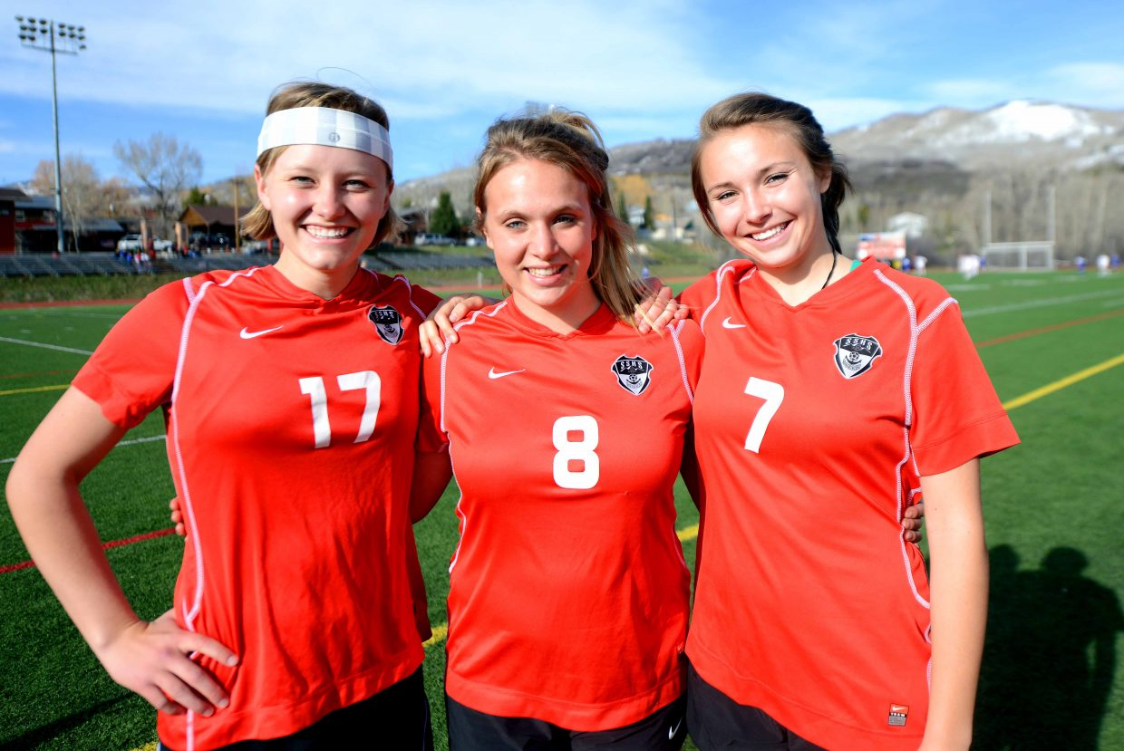 The senior of the Steamboat Springs High School soccer team, Madison Ruppel, Sara Stout and Alice Holmquist, will play their final regular season game in Steamboat at 6 p.m. Thursday against Rifle. The Sailors are 6-5 on the season and hope to make it 7-5 against a Rifle team that has struggled to an 0-10 record.