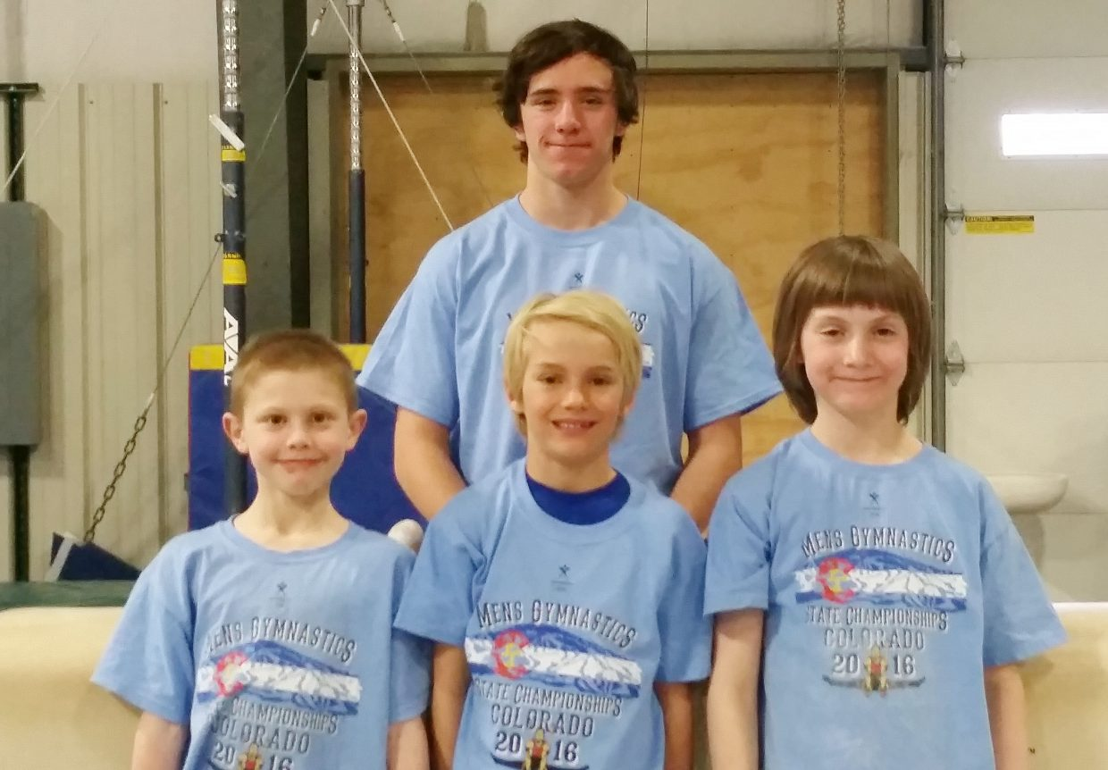 Four Steamboat Springs gymnasts, training at Excel Gymnastics, qualified for the regional championships in Colorado Springs. They included, front row, from left, Max David, Kade Lawton and Asher Komor. Cole Gibbs, back row, also qualified for nationals.