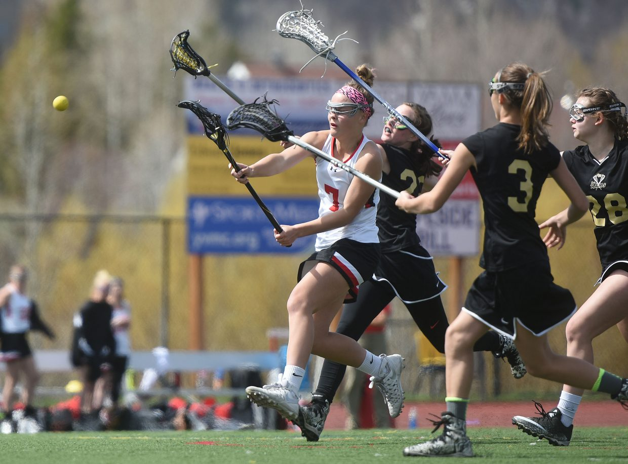 Lucy Shimek shoots for a goal earlier this season. Shimek leads the state in scoring with 72 goals this season. Riley Schott is currently third at 64 goals.