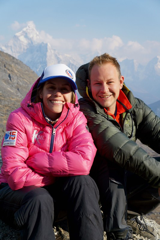 Kim Hess and her brother, Steven Hess, smile as they prepare to attempt to summit Mount Everest later this spring.