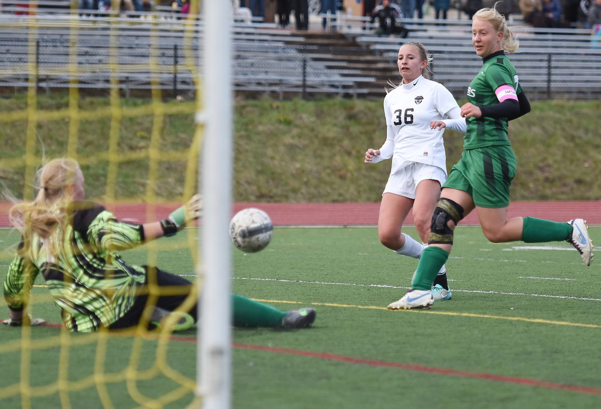 Brooke Buchanan watches as one of her shots rolls toward the goal Friday. It didn't go in, but the team had no shortage of scoring, winning 5-1 against Delta.