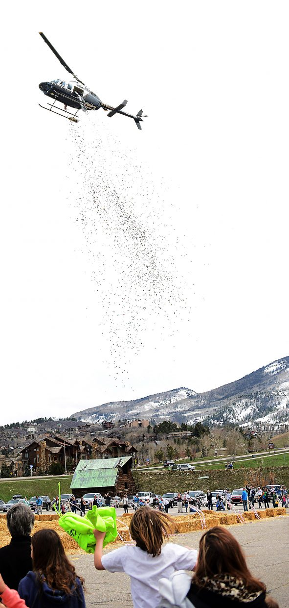 A helicopter adds hundreds of new eggs to the hunt, capping a wild day of Easter celebration that will take place this Saturday at the Easter Eggstravaganza at Steamboat Springs Middle School parking lot.