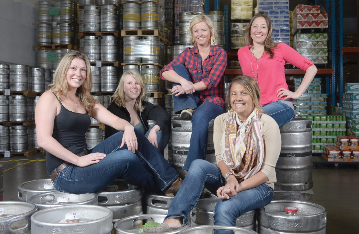 Local bartenders, from left, Beth Hadrys, Lyndsey Shaw, Georgie Watters, Elizabeth Jokisch and Jeanine Dinome sling drinks for patrons of various bars throughout the city of Steamboat Springs.