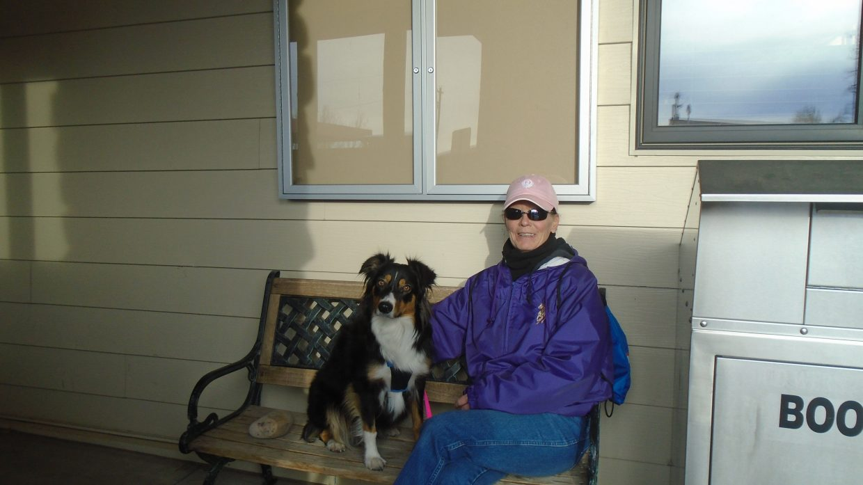 Brigitt Peckham and her pal, Liberty, spend some quality time at the Hayden Public Library.