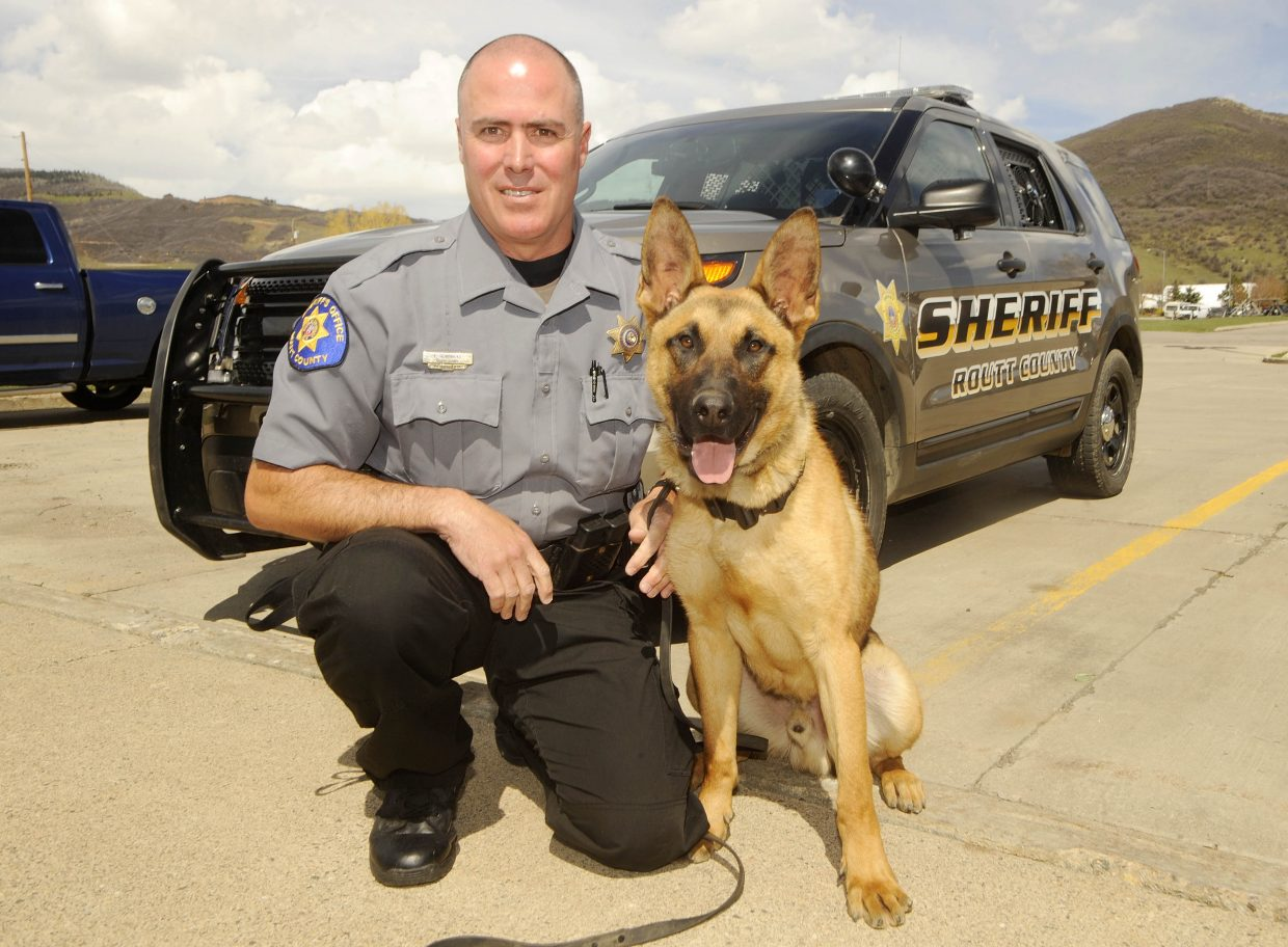 Routt County Sheriff's Office Deputy Ed Hendricks has been working with Boomer, German Shepherd and Belgian Malinois mix from the Czech Republic, since the Sheriff's Office started its K-9 unit in 2015. As of Tuesday, a retirement plan gives the dogs a clearer path for their post-work lives.