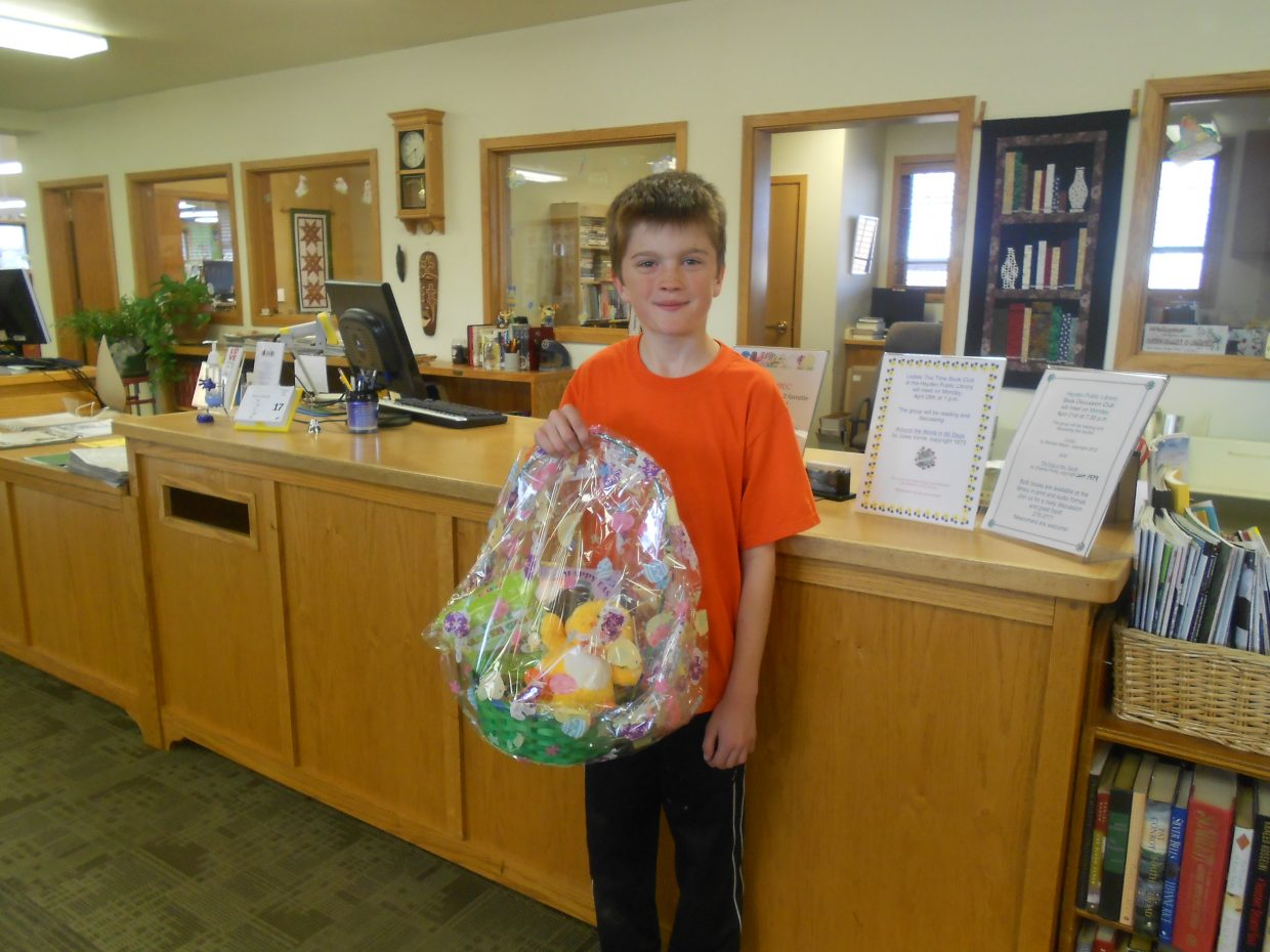 Mason Remington, 9, was one of the winners of Hayden Public Library's Easter basket raffle. The library thanks everyone who bought raffle tickets and the raffle sponsor, Walgreens. Submitted by: Rachel May