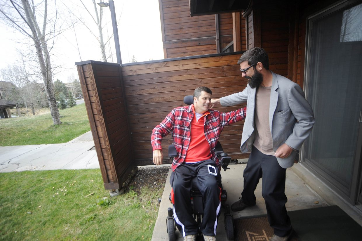"""Andrew """"Hondo"""" Sanders, right, and Dave Genchi reunite April 15 in Steamboat Springs."""