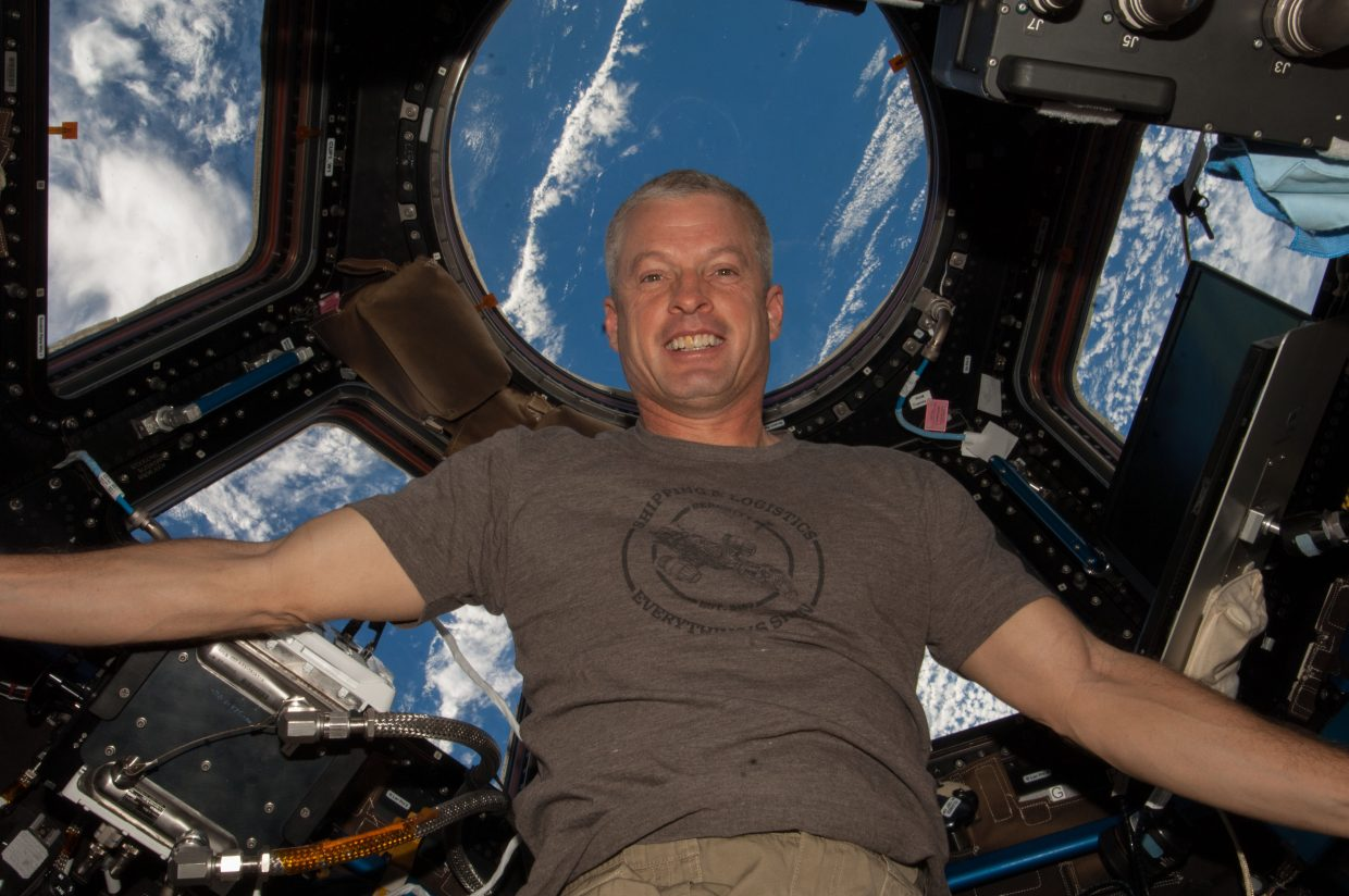 Steamboat astronaut Steve Swanson poses for a picture in the International Space Station. Swanson finished the fifth spacewalk of his career Wednesday morning.