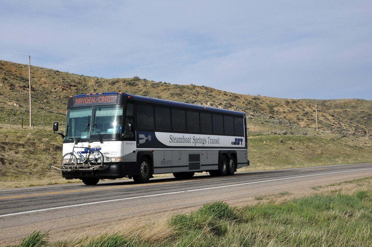 A Steamboat Springs Transit regional bus travels on U.S. Highway 40 near Craig. The city of Steamboat has received a $132,515 grant from the state to support the regional bus service.