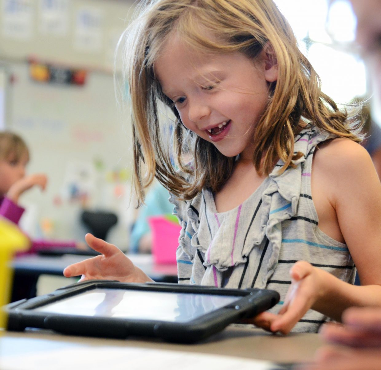Soda Creek Elementary student Abby Elliott uses an app on her iPad last school year. The Steamboat Springs School District has requested millions in technology upgrades through the years to keep up with evolving technology advancements.