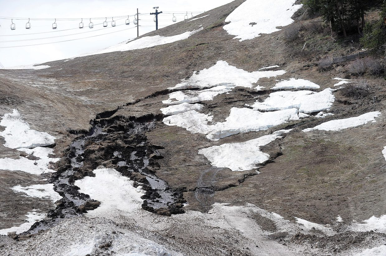 Large chunks of earth and vegetation on the front side of Howeslsen Hill broke loose and slid down the hill Friday morning. City officials said they have been keeping an eye on the hill since several cracks started forming Tuesday, adding that the slide has progressed this week.