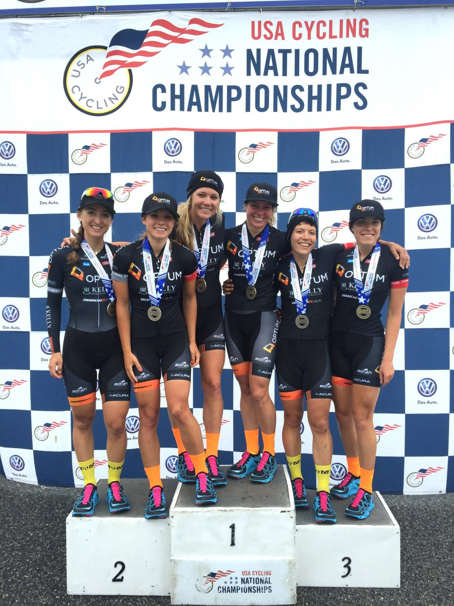 Amy Charity, third from right, and her team, Optum Pro Cycling, won the U.S. Team Time Trials National Championships in South Carolina. Charity said the event was a highlight of her career.