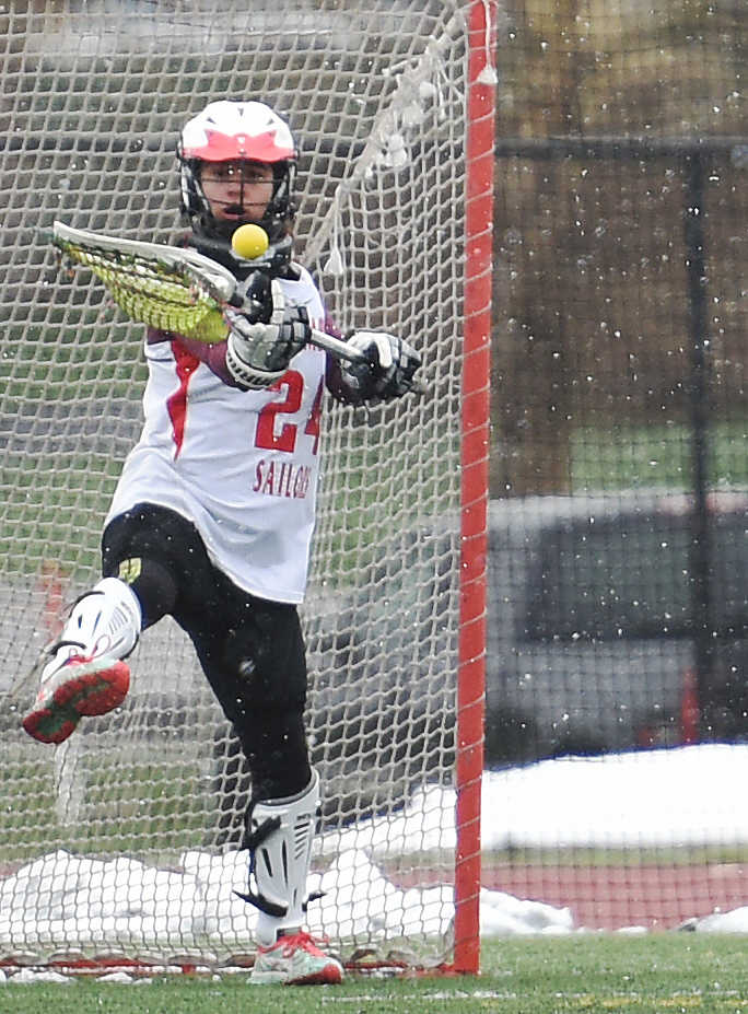 Steamboat freshman goalie Sequoia Anstine knocks down a shot Tuesday against Summit. She finished with 12 saves, nine in the second half.