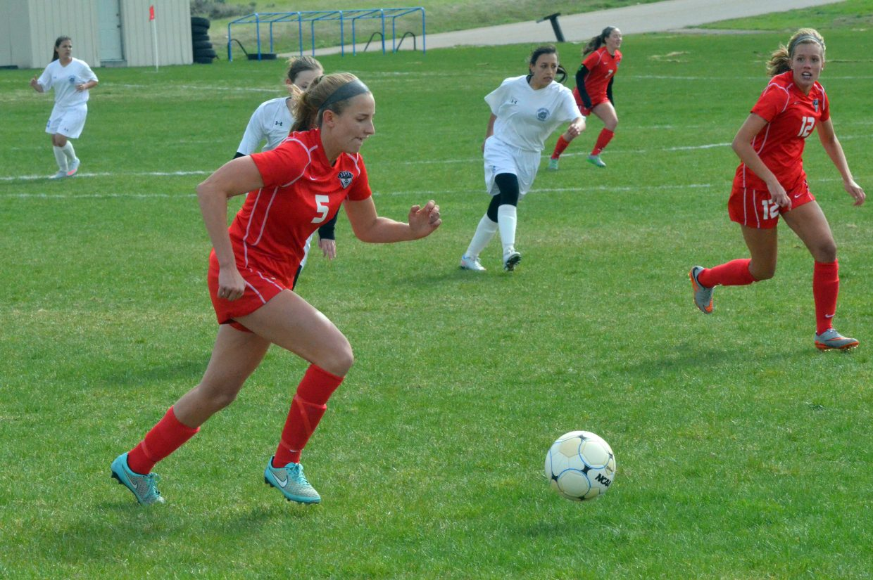 Steamboat Springs' Brooke Buchanan moves the ball upfield during the Sailor girls soccer team's Wednesday game in Craig.