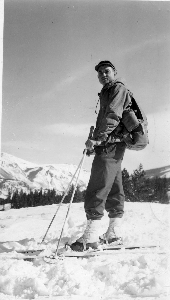 Charles Hogue in his 10th Mountain Division ski gear.