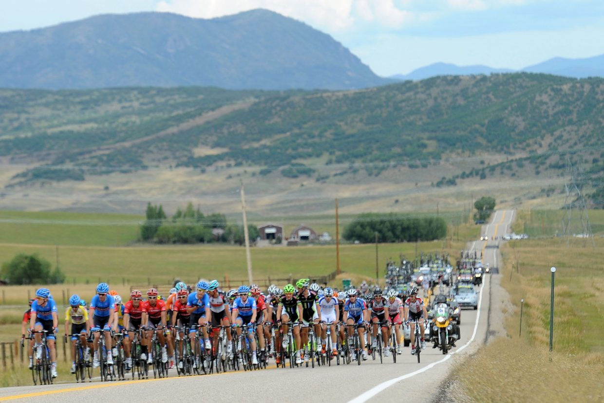 Cyclists ride up Twentymile Road during the 2013 USA Pro Challenge which stopped in Steamboat Springs. Riders will return to that route when the race is back in Steamboat in August, making two laps of that road during the first of two stages to take place in Steamboat.
