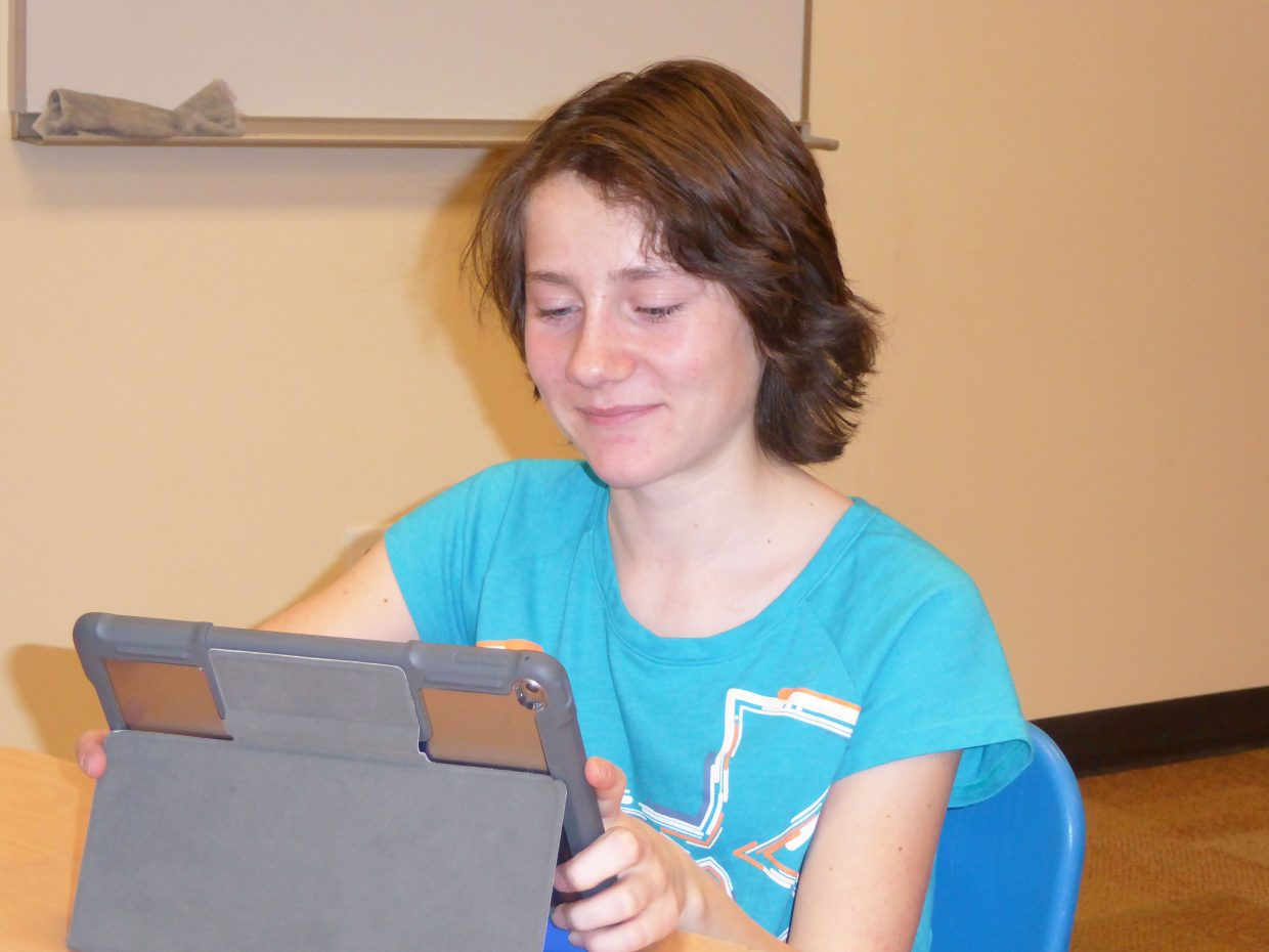 Allison Villard, an eighth-grader whose poem came in first in the Carol Jacobson Memorial Poetry Contest, works on a project at Craig Middle School.