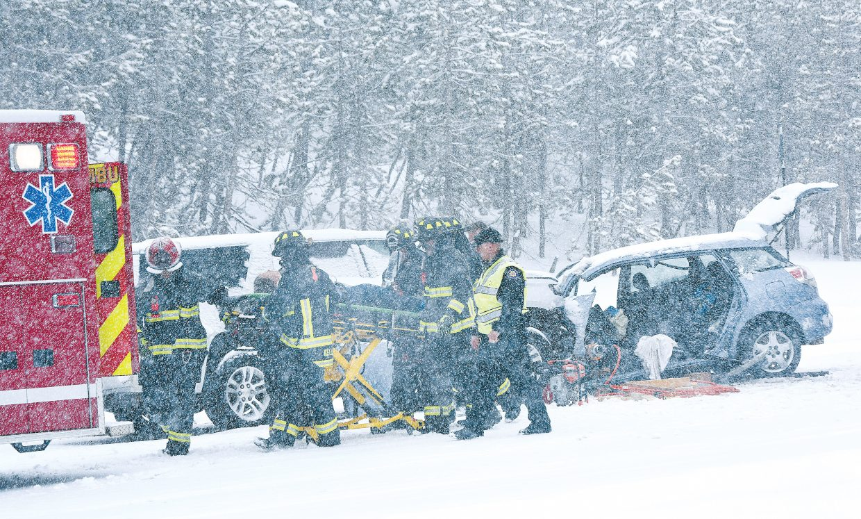 A woman driving a Toyota sedan was seriously injured Friday afternoon in a head-on collision with a Suburban near mile marker 150 on U.S. Highway 40 near the top of Rabbit Ears Pass. The accident closed the pass in both directions while the woman was extracted from the vehicle before being taking to Yampa Valley Medical Center in Steamboat Springs. Heavy, wet snow made driving conditions near the top of Rabbit Ears Pass treacherous Friday afternoon and may have contributed to the crash.