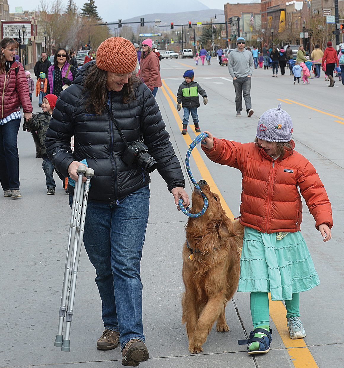 It was kind of hard to tell if Shea Rossi was walking Elwood or Elwood was walking Shea during the annual Children's Parade in downtown Steamboat Springs. Luckily, Shea's mom, Liza, was on hand to sort things out or somebody might have broken a leg ... oops too late.