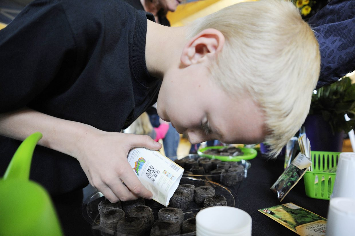 Wrigley Neeley, 9, plants seeds at the Lawn Lady booth during the Home and Garden Expo on Saturday at the Steamboat Springs Community Center.