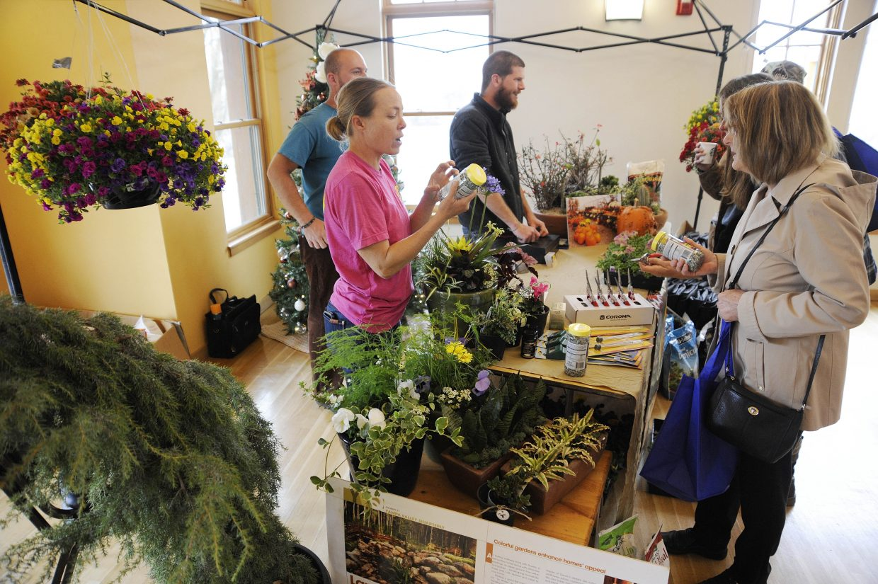 Flowers are on display at the Gecko Landscape and Garden Center booth during the Home and Garden Expo on Saturday at the Steamboat Springs Community Center