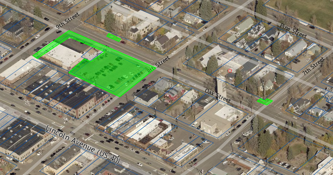 This aerial photo shows closures scheduled for the coming week on Oak Street.