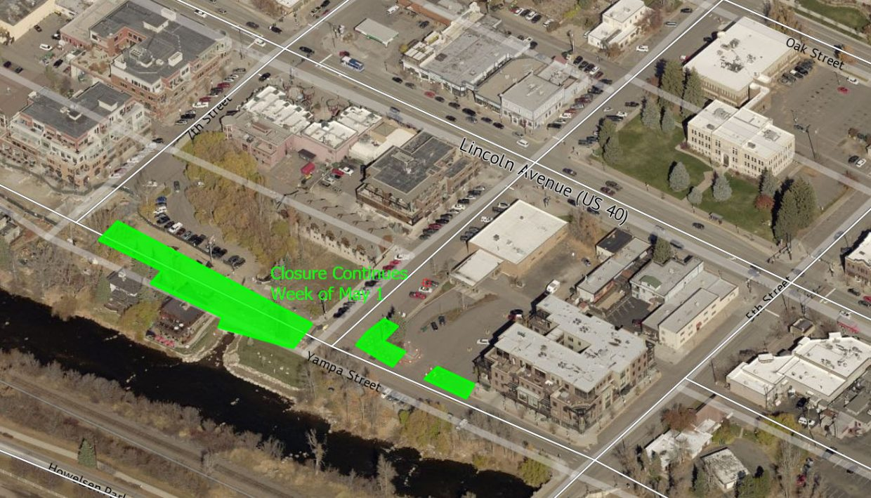 This aerial photo shows closures scheduled for the Phase I construction on Yampa Street during the coming week.