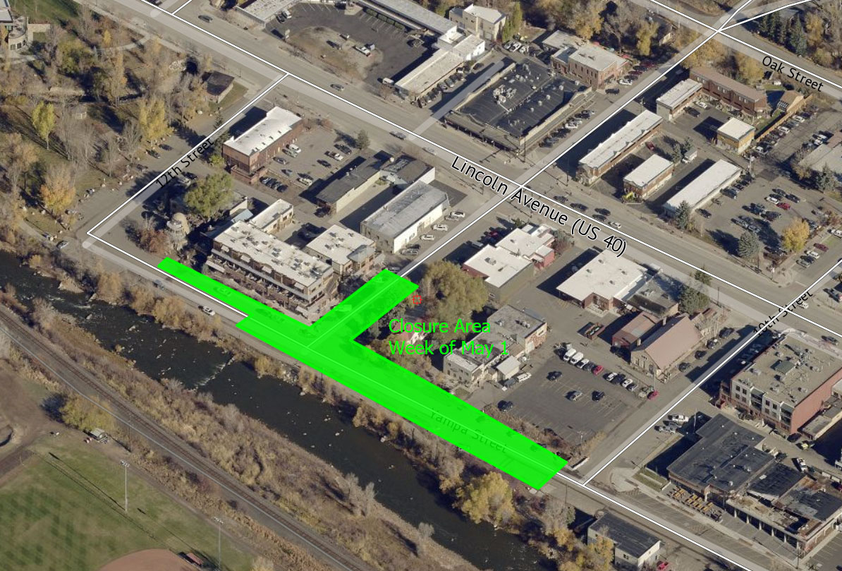 This aerial photo shows closures scheduled for the Phase II construction on Yampa Street during the coming week.