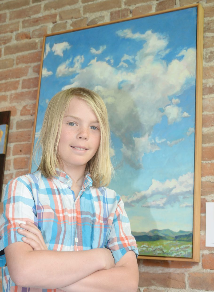Emerald Mountain School student Finn Dresen found inspiration in this art work by Dancy St. John on display at the Circle & Gallery in Steamboat Springs.