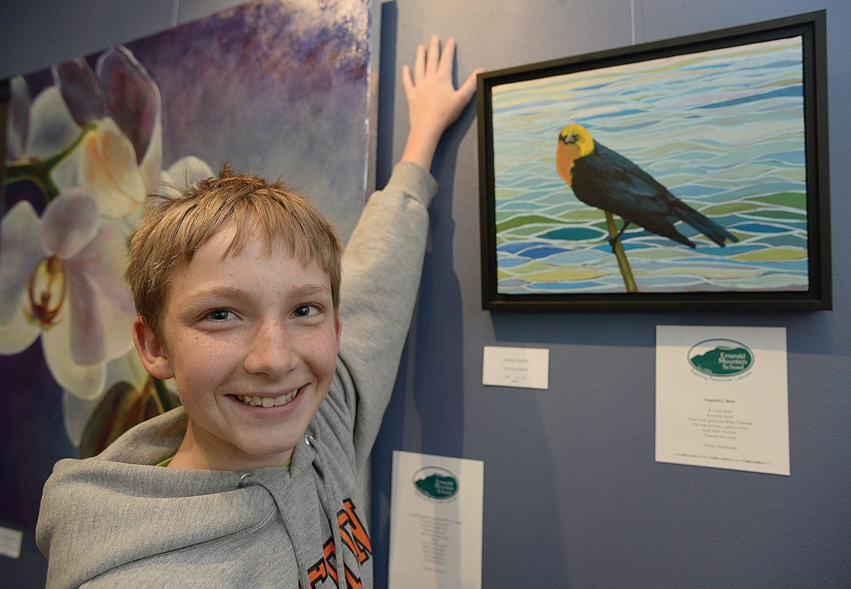Emerald Mountain School student Theo Holdeman found inspiration in this art work by Maggie Smith on display at the Circle & Gallery in Steamboat Springs.