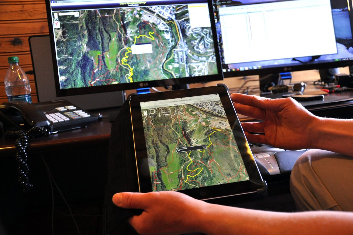 Steamboat Springs GIS Administrator Mary Schuette shows off the mobile and desktop versions of the city's new interactive trails map. The map displays a slew of information about all of the trails in the city and at the Steamboat Ski Area.