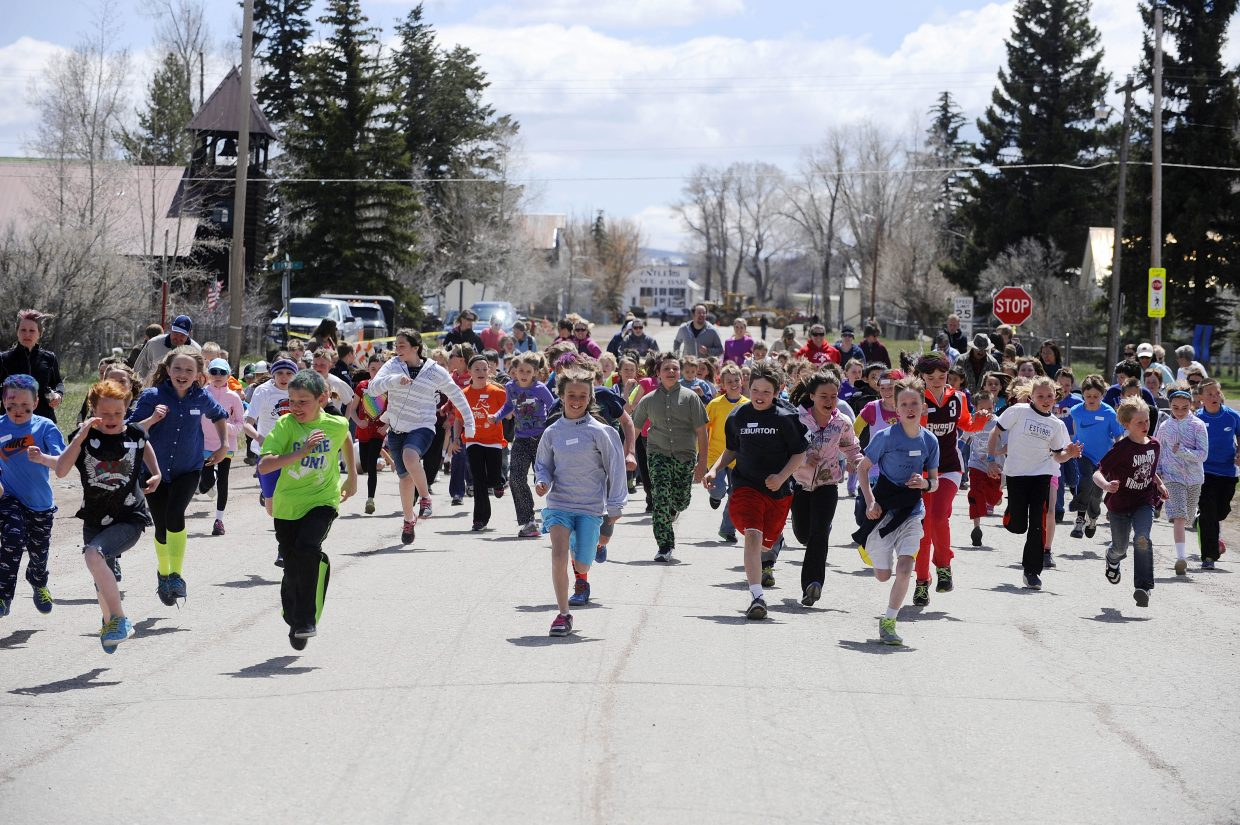 About 175 South Routt Elementary School students and several parents participated in Thursday's run.