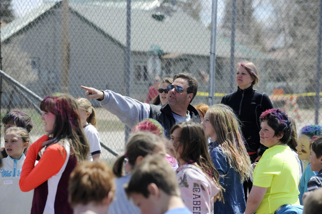 Physical education teacher Artie Weber gives the students instructions before the run.