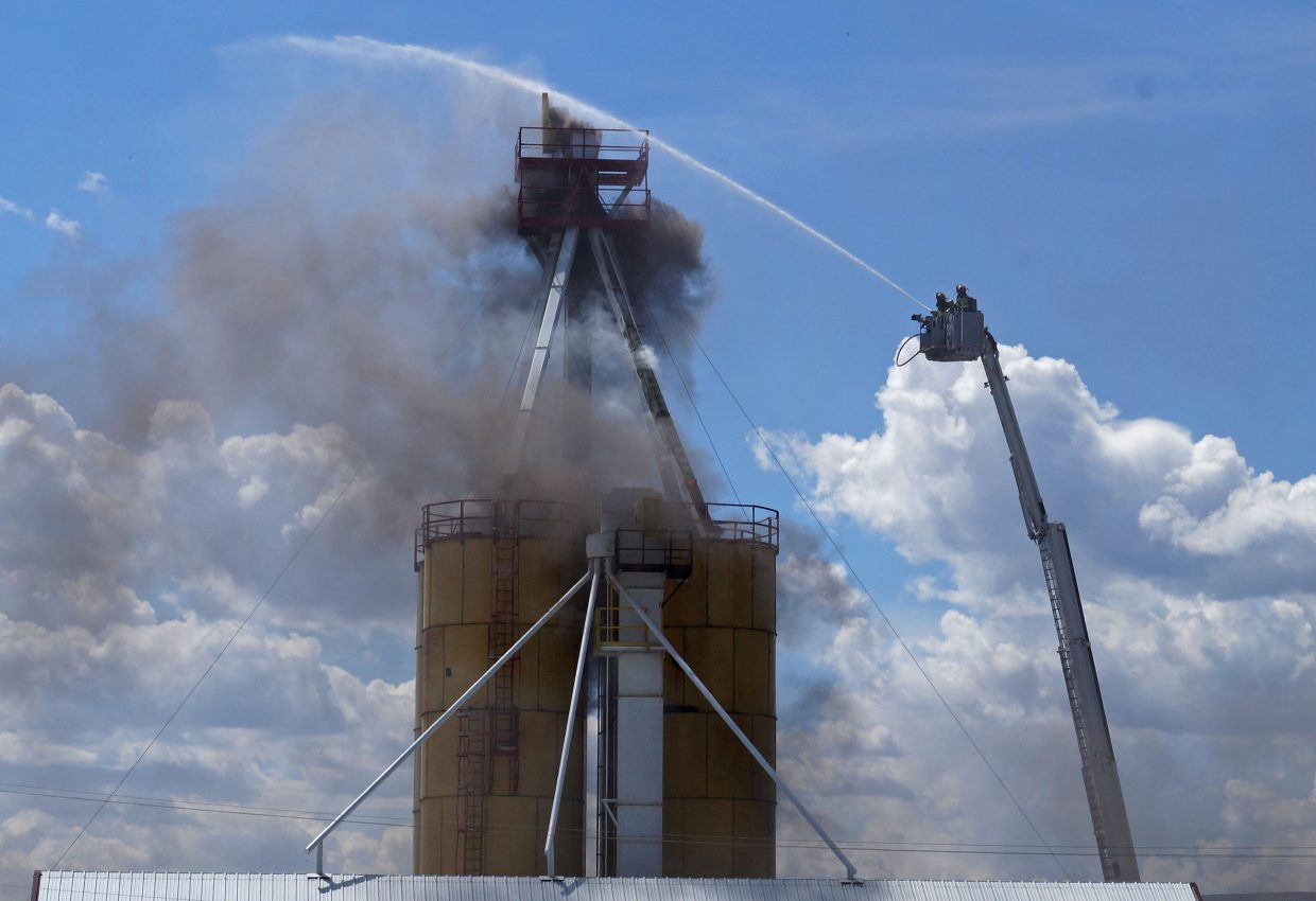 Craig Fire/Rescue responds to a silo fire around 11 a.m. on Saturday. Welding that was being performed as routine maintenance on the facility heated up rubber in the downspouts to the point where it caught on fire.