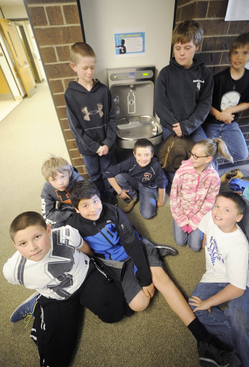 Hayden Valley Elementary School students Friday made a pledge to drink more water and fewer sugary drinks. The school recently installed a water bottle-filling station with help from Action For Healthy Kids, the booster club and student council.
