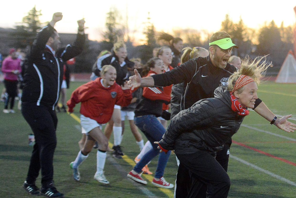 The Sailors sideline erupts after Jordi Floyd put in a game-winning goal Friday night.