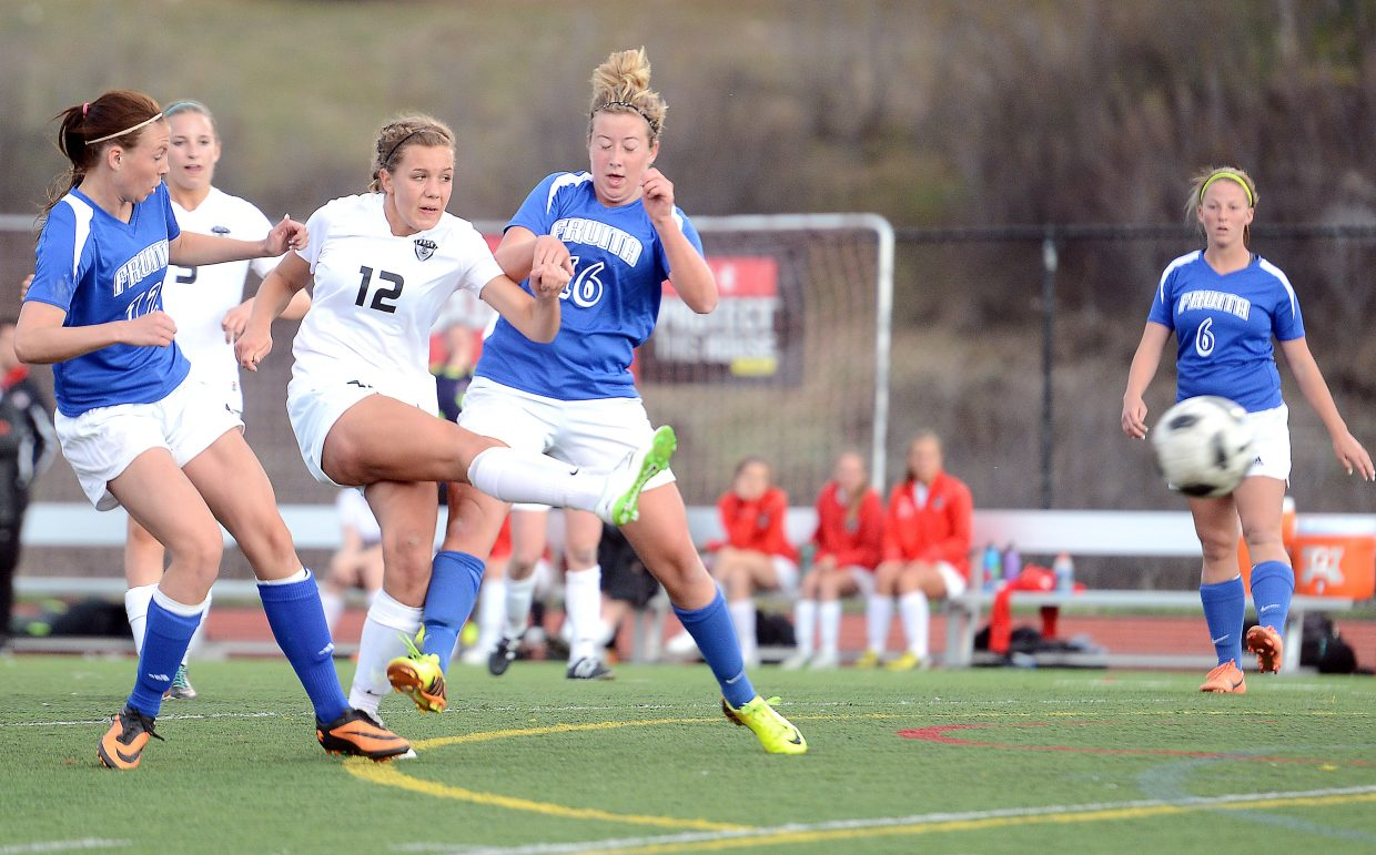 Steamboat's Natalie Bohlmann lets loose a shot Friday in a 2-1 win against Fruita.