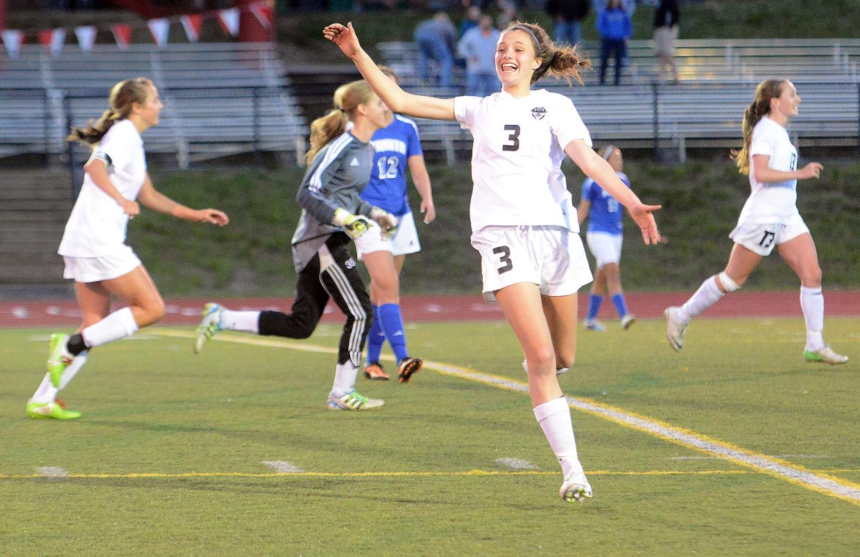 Steamboat's Eliza Leeson celebrates after Steamboat's Friday night win.
