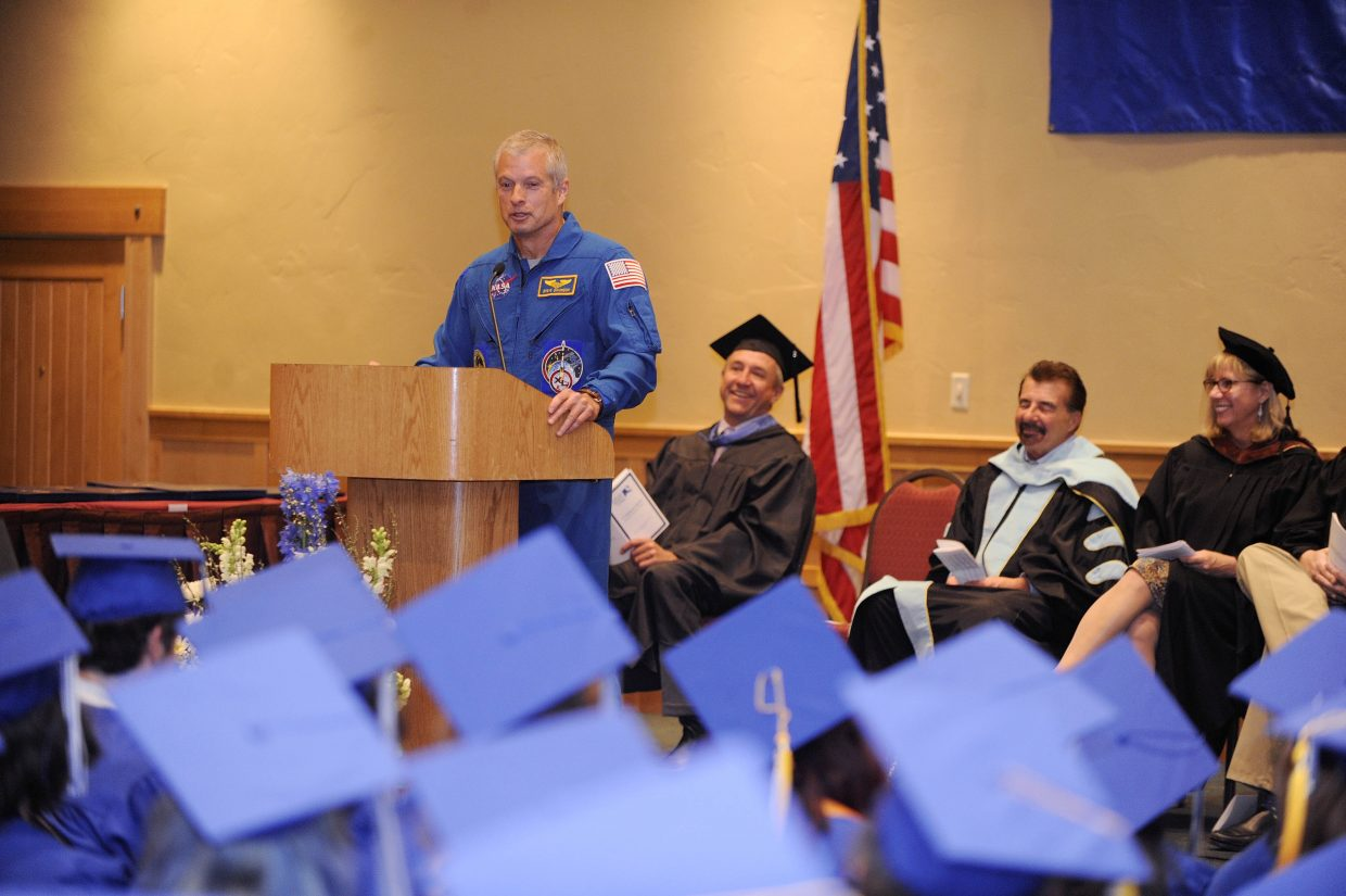 Steamboat Springs astronaut Steve Swanson speaks during the Colorado Mountain College graduation Saturday at The Steamboat Grand. Swanson graduated from Steamboat Springs High School in 1979. He has lived in space for 195 days, 15 hours and 41 minutes.