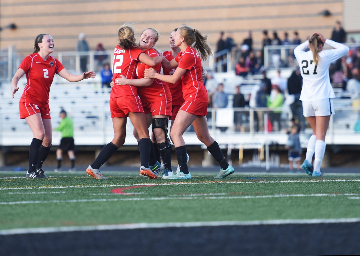 The Steamboat Springs High School girls soccer team comes together to celebrate Monday after taking a 3-0 lead on rival Battle Mountain. The Sailors went on to win the game, locking up the Western Slope League championship for the first time since 2006.